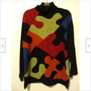 VTG Designer Studio Sweater 80s Puzzle Women Sz L